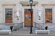 "Galena Illinois USA, US Post Office & Customs House with Halloween decorations. Built in 1857-1859 from Nauvoo limestone, this Renaissance Revival building is the second oldest continuously operating post office in the United States and the first to be named a ""Great American Post Office"" by the Smithsonian Institution National Postal Museum. October 2006"