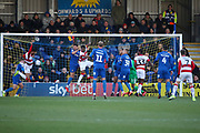 Doncaster Rovers attacker Kwame Thomas (39) scoring goal to make it 0-1  during the EFL Sky Bet League 1 match between AFC Wimbledon and Doncaster Rovers at the Cherry Red Records Stadium, Kingston, England on 14 December 2019.