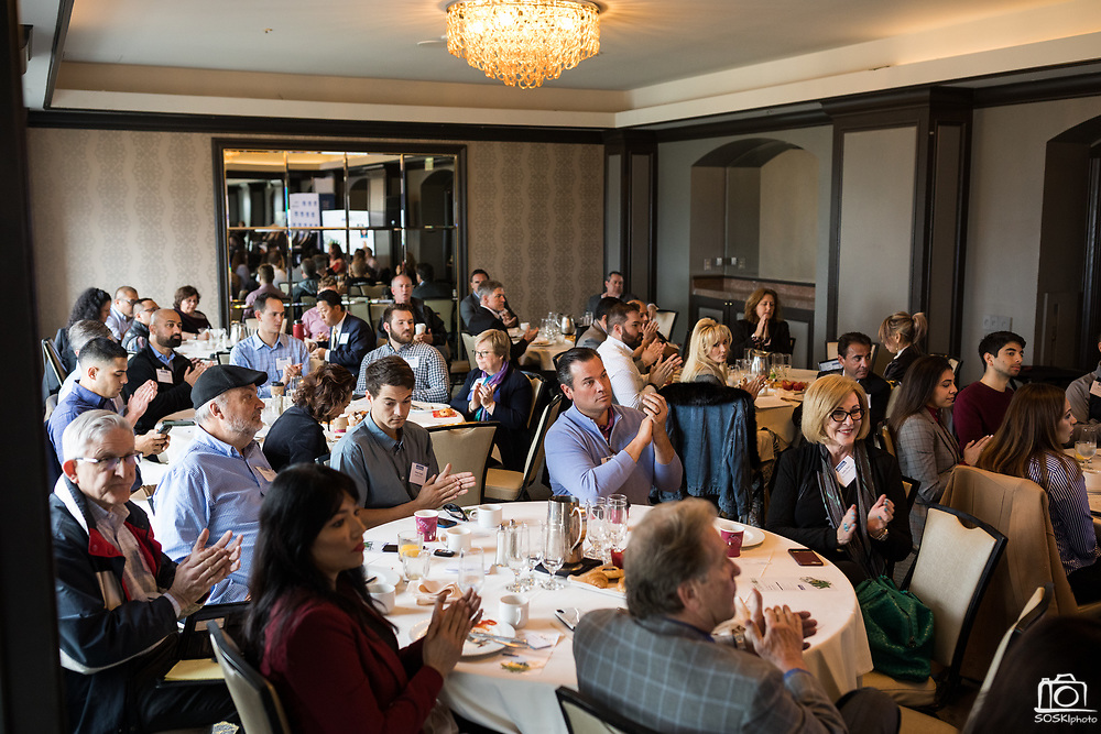 Attendees listen to a panel discussion during the Business of Cannabis event at the Silicon Valley Capital Club in San Jose, California, on April 4, 2019. (Stan Olszewski for Silicon Valley Business Journal)