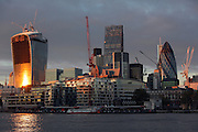UK, London, View of the city of London and construction cranes from the south side of the river Thames.<br /> <br /> Photo: &copy; Zute Lightfoot