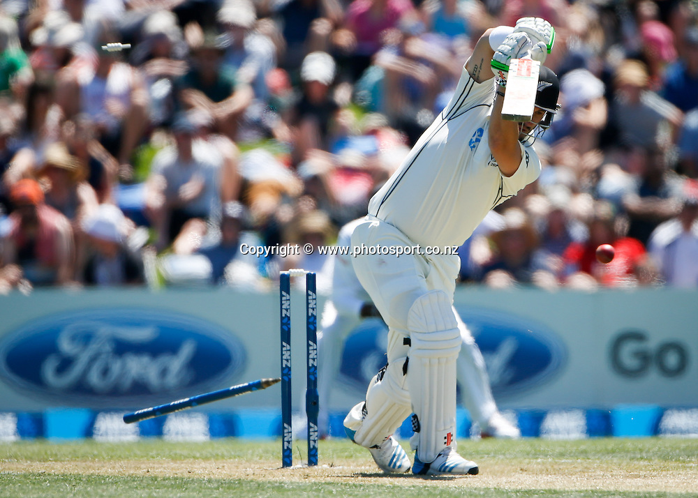 Black Caps Hamish Rutherford is bowled. First day, ANZ Boxing Day Cricket Test, New Zealand Black Caps v Sri Lanka, 26 December 2014, Hagley Oval, Christchurch, New Zealand. Photo: John Cowpland / photosport.co.nz