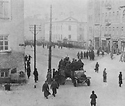 Jeep transporting soldiers during the Russian Revolution in Petrograd, later St Petersburg, 11th or 12th March 1917, photograph published in L'Illustration no.3868, 21st April 1917. Picture by Manuel Cohen