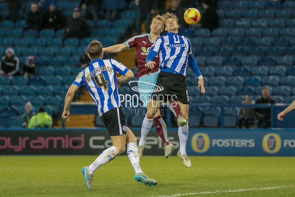 Glenn Loovens (Sheffield Wednesday) gets a header in to clear the ball during the Sky Bet Championship match between Sheffield Wednesday and Burnley at Hillsborough, Sheffield, England on 2 February 2016. Photo by Mark Doherty.
