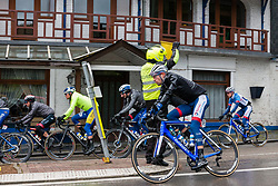 Peloton with Paul Ourselin (FRA) of Team Total Direct Energie (FRA,PCT) at La Roche-en-Ardennes during the 2019 Li&egrave;ge-Bastogne-Li&egrave;ge (1.UWT) with 256 km racing from Li&egrave;ge to Li&egrave;ge, Belgium. 28th April 2019. Picture: Pim Nijland | Peloton Photos<br /> <br /> All photos usage must carry mandatory copyright credit (Peloton Photos | Pim Nijland)
