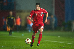 TRABZON, TURKEY - Thursday, August 26, 2010: Liverpool's Martin Kelly in action against Trabzonspor during the UEFA Europa League Play-Off 2nd Leg match at the Huseyin Avni Aker Stadium. (Pic by: David Rawcliffe/Propaganda)