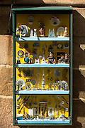 Religious souvenirs and icons in a shop in Santiago de Compostela, Galicia, Spain