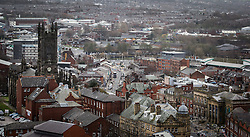 © Licensed to London News Pictures . FILE PICTURE DATED 14/12/2013 of Oldham Town Centre GV general view as viewed from the roof of Oldham Civic Centre . Oldham has been named England's most deprived town by the Office for National Statistics today (18th March 2016) . Photo credit : Joel Goodman/LNP