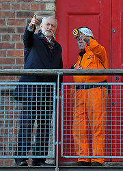 Pictured: Jeremy Corbyn meets retired miner and now visitor guide John Kane and Danielle Rowley.<br /> <br /> Labour leader Jeremy Corbyn visited the Scottish Mining Museum at Newtongrange, where he met activists and the Labour candidate for Midlothian Danielle Rowley on his campaign tour of key constituencies in Scotland.<br /> <br /> © Dave Johnston / EEm