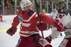 13.3.2018, Stadthalle, Klagenfurt, AUT, EBEL, EC KAC vs HCB Südtirol, 3. Viertelfinalspiel Playoff, im Bild John Rheault (EC KAC, #26), Daniel Glira (HCB-Südtirol Alperia, #21) // during the Erste Bank Eishockey League 3rd Quaterfinal match between EC KAC vs HCB Südtirol at the City Hall in Klagenfurt, Austria on 2018/03/13. EXPA Pictures © 2018, PhotoCredit: EXPA/ Gert Steinthaler