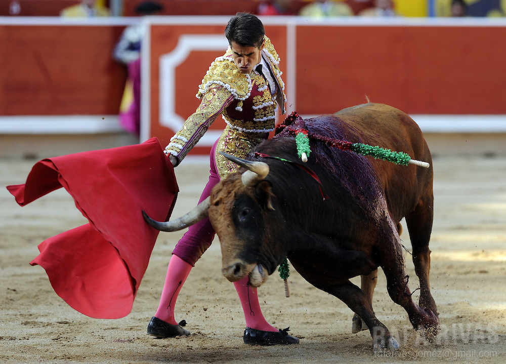 Spanish matador Francisco Marco performs a pass with muleta during the third corrida of the San Fermin Festival, on July 9, 2012,  in the Northern Spanish city of Pamplona. PHOTO / Rafa Rivas