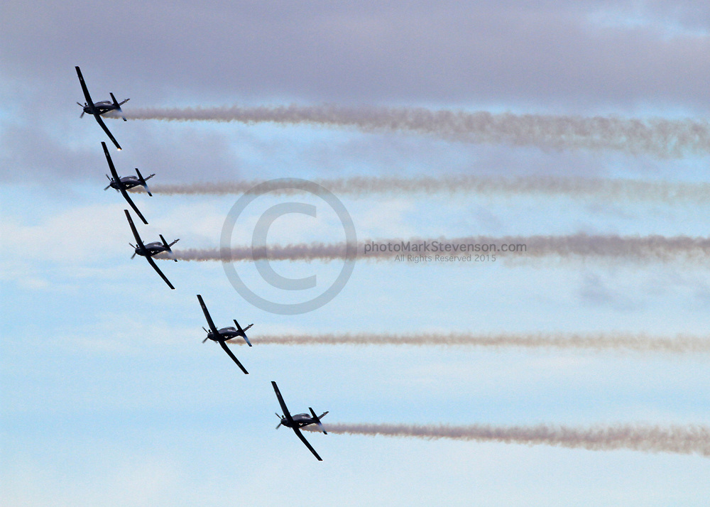 The Royal New Zealand Air Force (RNZAF) Black Falcons aerobatic put on a free show over Ocean Beach, Dunedin ,NZ