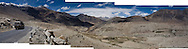 Panoramic view of the scenery of Nubra Valley, Ladakh on 4th June 2009 while driving from Leh town to Hundar, Diskit, Sumur and Panamik. On the way, drive across the world's highest motorable pass, Khardung La, 5505m. The valley of Ladakh is located in the Indian Himalayas, in the northern state of Jammu and Kashmir. Photo by Suzanne Lee