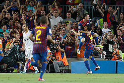 17.08.2011, Camp Nou, Barcelona, ESP, Supercup 2011, FC Barcelona vs Real Madrid, im Bild FC Barcelona's Daniel Alves, Leo Messi and Cesc Fabregas celebrates goal in presence of Real Madrid's Ricardo Carvalho (l)dejected during Spanish Supercup 2nd match.August 17,2011. EXPA Pictures © 2011, PhotoCredit: EXPA/ Alterphotos/ Acero +++++ ATTENTION - OUT OF SPAIN / ESP +++++