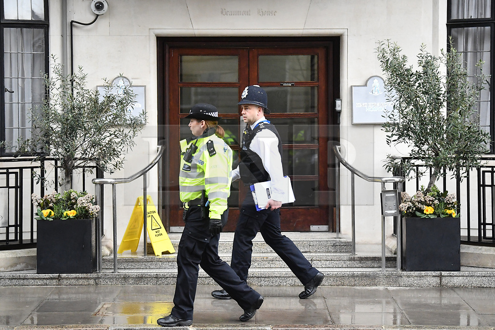 © Licensed to London News Pictures. 03/04/2018. London, UK. Police stand guard outside the King Edward VII Hospital in central London after The Duke of Edinburgh was admitted. Prince Philip is having a planned operation tomorrow on is hip and is expected to stay for a few days. Photo credit: Ben Cawthra/LNP