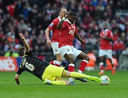 Walsall's Paul Downing tackles Bristol City's Kieran Agard  - Photo mandatory by-line: Joe Meredith/JMP - Mobile: 07966 386802 - 22/03/2015 - SPORT - Football - London - Wembley Stadium - Bristol City v Walsall - Johnstone Paint Trophy Final