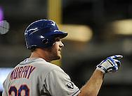 Jul. 26, 2012; Phoenix, AZ, USA; New York Mets infielder Daniel Murphy (28) reacts during the game against the Arizona Diamondbacks at Chase Field.  Mandatory Credit: Jennifer Stewart-US PRESSWIRE