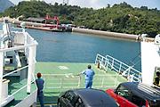 The ferry to Okunoshima, aka Rabbit Island, in Hiroshima Prefecture Japan.