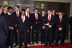LIVERPOOL, ENGLAND - Tuesday, May 6, 2014: The captain Steven Gerrard along with Daniel Sturridge, Raheem Sterling, Jon Flanagan and Joe Allen arrive on the red carpet for the Liverpool FC Players' Awards Dinner 2014 at the Liverpool Arena. (Pic by David Rawcliffe/Propaganda)