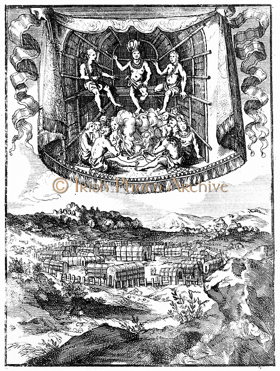 Top: Chief Wahunsonacock (father of Pocahontas) head of Powhatan confederacy of Algonquin-speaking tribes smoking in his hut. Below: Palisaded village of huts typical of Virginia and east shore of Chesapeake Bay. Copperplate engraving 1686
