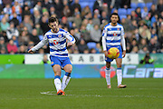 Reading FC midfielder Oliver Norwood clears the ball upfield during the Sky Bet Championship match between Reading and Blackburn Rovers at the Madejski Stadium, Reading, England on 3 December 2015. Photo by Mark Davies.