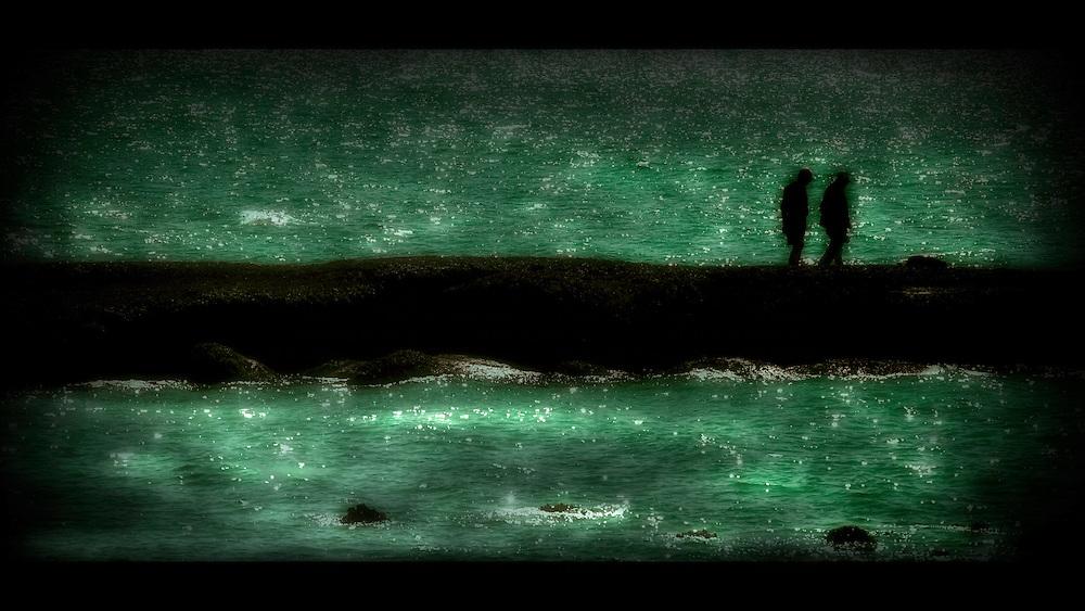 Two figures walking beside a green sea