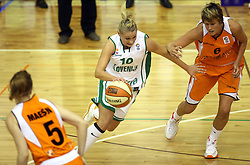 Katarina Ristic and Laura Kooij at basketball qualification match of women division B  between National teams of Slovenia and Netherlands, on August 27, 2008, in Vitranc Hall, Kranjska Gora. Win of NED 83:81. (Photo by Vid Ponikvar / Sportida)