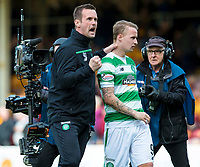 09/04/16 LADBROKES PREMIERSHIP<br /> MOTHERWELL v CELTIC<br /> FIR PARK - MOTHERWELL<br /> Celtic manager Ronny Deila (left) with Leigh Griffiths at full-time
