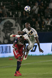 May 30, 2018 - Carson, California, U.S - Michael Ciani #28 of the LA Galaxy battles for the ball with Roland Lamah #20 of FC Dallas during their MLS game on Wednesday, May 30, 2018 at the Stub Hub Center in Carson, California. LA Galaxy Lose to FC Dallas, 2-3. (Credit Image: © Prensa Internacional via ZUMA Wire)