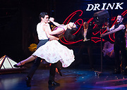 Strictly Ballroom <br />By Baz Luhrmann <br />At The Piccadilly Theatre, London, Great Britain <br />Press photocall <br />17th April 2018 <br /><br />Jonny Labey as Scott Hastings <br />Zizi Strallen as Fran <br />and Will Young as Band leader <br /><br /><br />And company