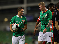 Ireland's Wes Hoolahan and James McClean - Mandatory by-line: Ken Sutton/JMP - 31/08/2016 - FOOTBALL - Aviva Stadium - Dublin,  - Republic of Ireland v Oman -