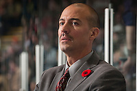 KELOWNA, CANADA - NOVEMBER 9:  Ryan Huska, head coach of the Kelowna Rockets stands on the bench opposite the Red Deer Rebels at the Kelowna Rockets on November 9, 2012 at Prospera Place in Kelowna, British Columbia, Canada (Photo by Marissa Baecker/Shoot the Breeze) *** Local Caption ***