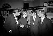 """28/06/1967<br /> 06/28/1967<br /> 28 June 1967<br /> Presentation of prizes at Navan Carpets """"Young Designer of the Year"""" reception in the Royal Hibernian Hotel, Dublin. Image shows (l-r): Mr. Michael Bourke, Principal of the National College of Art; Miss Jan Bell, State of Oregon, USA; Mr. Brendan McKeon, (prize-winner) Castlerea, Co. Roscommon and Mr. B.V. Fox, Navan Carpets Ltd. at the reception."""