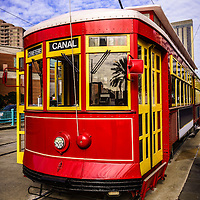 Picture of New Orleans streetcar on Canal Street in downtown New Orleans Louisiana.