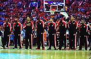 Apr 18, 2010; Phoenix, AZ, USA; Portland Trailblazers line up for the national anothem prior to game one in the first round of the 2010 NBA playoffs at the US Airways Arena.  Mandatory Credit: Jennifer Stewart-US PRESSWIRE