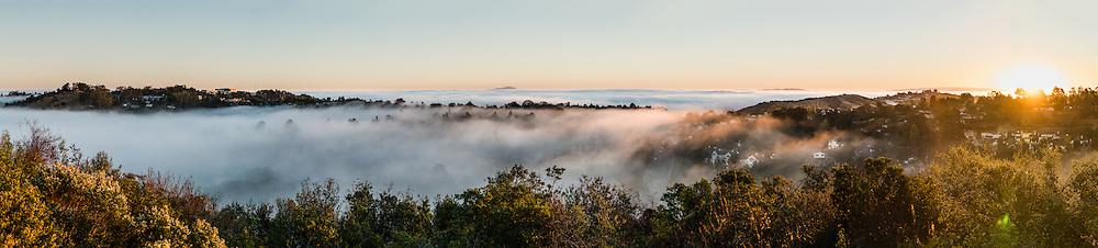 Morning fog in San Mateo at sunrise