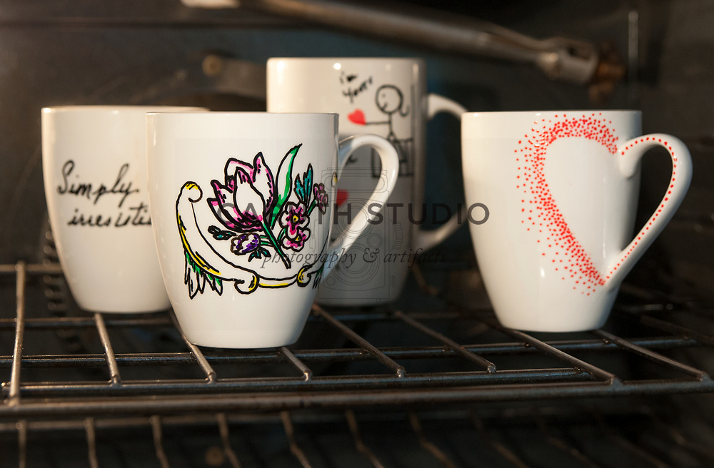 Baking painted mugs in oven