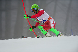 Maciej KREZEL competing in the Alpine Skiing Super Combined Slalom at the 2014 Sochi Winter Paralympic Games, Russia