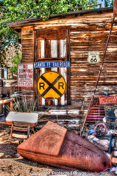 The Hackberry Store, on Route 66 in Arizona is surrounded with nostalgic vintage items.