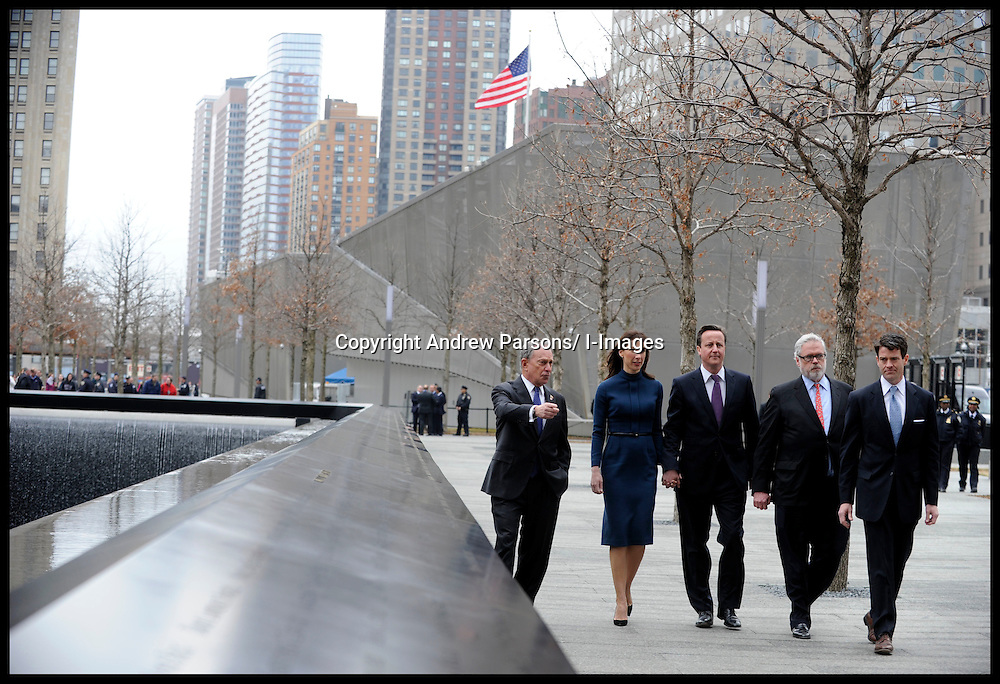 Prime Minister David Cameron's wife Samantha lays flowers at Ground Zero on the name of Katherine Wolf, a British citizen who died on 9/11, L to R Mayor Bloomberg, Samantha and Cameron, Charles Wolf the husband of Katherine Wolf,Thursday March 15, 2012 . Photo By Andrew Parsons/ i-Images