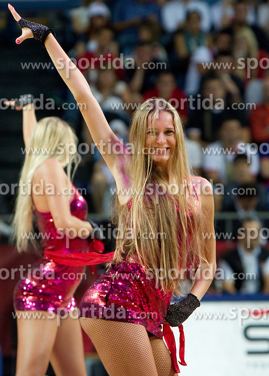 Cheerleaders perform during the first semifinal basketball match between National teams of USA and Lithuania at 2010 FIBA World Championships on September 11, 2010 at the Sinan Erdem Dome in Istanbul, Turkey.   (Photo By Vid Ponikvar / Sportida.com)