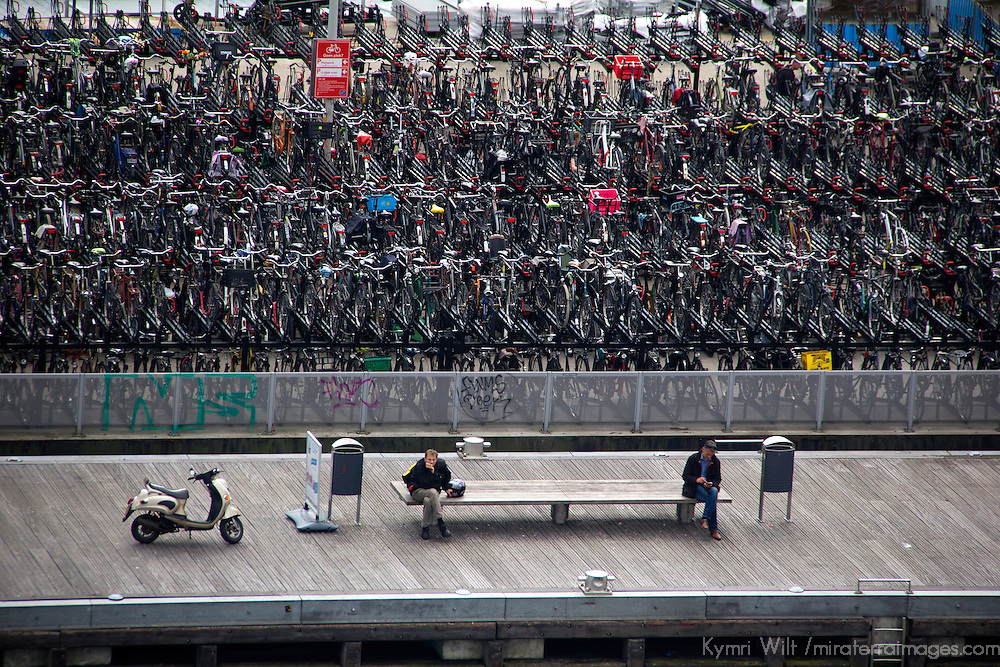 Europe, Netherlands, Amsterdam. Bike Lot and Bench in Amsterdam.