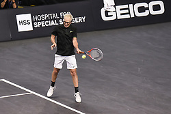 October 4, 2018 - St. Louis, Missouri, U.S - JOHN MCENROE returns the serve during the Invest Series True Champions Classic on Thursday, October 4, 2018, held at The Chaifetz Arena in St. Louis, MO (Photo credit Richard Ulreich / ZUMA Press) (Credit Image: © Richard Ulreich/ZUMA Wire)