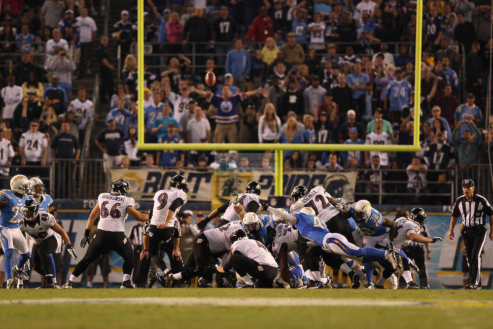 Baltimore Ravens place kicker Justin Tucker (9) kicks the game winning field goal against the San Diego Chargers during an NFL game on Sunday, November 25, 2012 in San Diego, CA.  (Photo by Jed Jacobsohn)