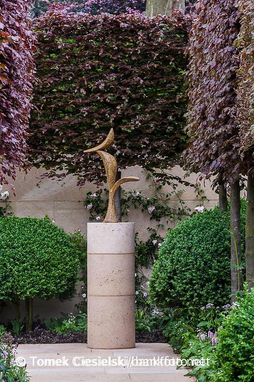 Modern sculpture in The Laurent-Perrier Bicentenary Garden. Chelsea Flower Show 2012