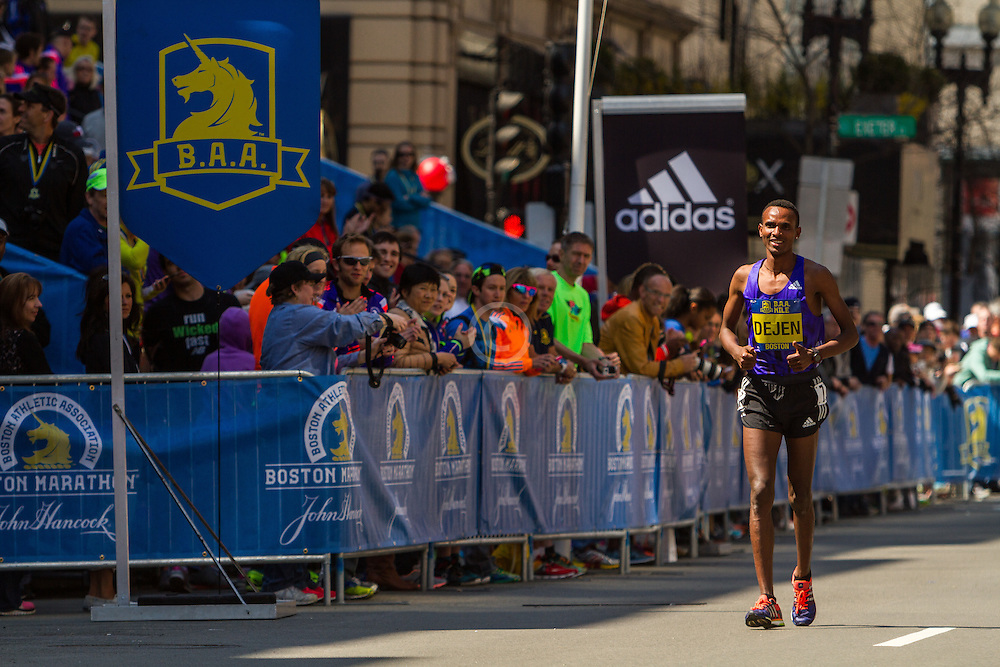 Boston Marathon: BAA 5K road race, Invitational Mens Mile, Dejen Gebremeskel, winner, Ethiopia