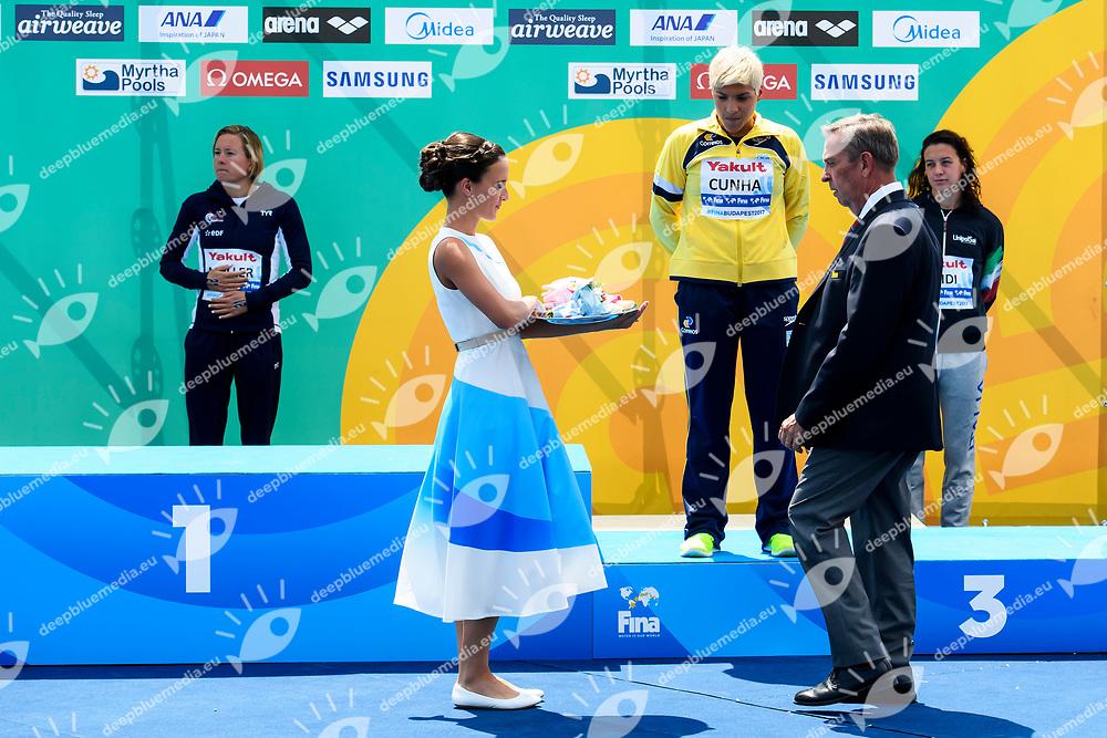 CUNHA Ana Marcela BRA Bronze medal celebration <br /> Women's 10Km <br /> Open Water Swimming Balatonfured<br /> Day 03 16/07/2017 <br /> XVII FINA World Championships Aquatics<br /> Lake Balaton Budapest Hungary  <br /> Photo Andrea Staccioli/Deepbluemedia/Insidefoto