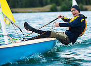 Mike Boudreau reacts after slipping into the water during the Yukon Breeze Sailing Society's first-ever regatta on July 27, 2016 in Whitehorse.
