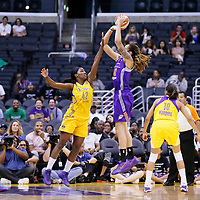 24 July 2014: Phoenix Mercury center Brittney Griner (42) takes a jump shot over Los Angeles Sparks center Jantel Lavender (42) during the Phoenix Mercury 93-73 victory over the Los Angeles Sparks, at the Staples Center, Los Angeles, California, USA.