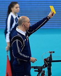 Referee with yellow card during volleyball match between National teams of Netherlands and Slovenia in Playoff of 2015 CEV Volleyball European Championship - Men, on October 13, 2015 in Arena Armeec, Sofia, Bulgaria. Photo by Ronald Hoogendoorn / Sportida