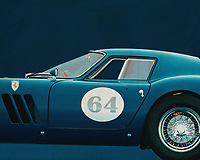 """The Ferrari 250 GTO is a GT car produced by Ferrari from 1962 to 1964 for homologation into the FIA's Group 3 Grand Touring Car category. It was powered by Ferrari's Tipo 168/62 Colombo V12 engine.<br /> <br /> The """"250"""" in its name denotes the displacement in cubic centimeters of each of its cylinders; """"GTO"""" stands for Gran Turismo Omologata,[4][5] Italian for """"Grand Touring Homologated.""""<br /> <br /> Just 36 of the 250 GTOs were manufactured between 1962 and 1964. This includes 33 cars with 1962-63 bodywork (Series I) and three with 1964 (Series II) bodywork similar to the Ferrari 250 LM. Four of the older 1962-1963 (Series I) cars were updated in 1964 with Series II bodies."""